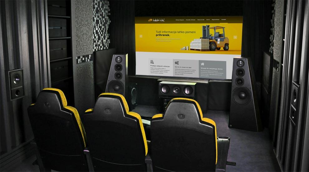 Web design presentation in a home theater room